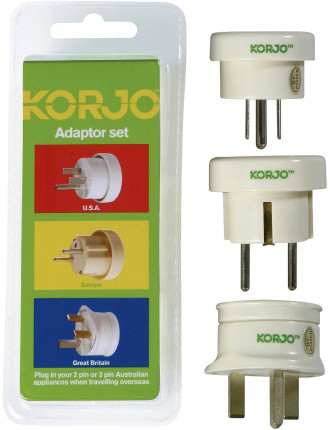 Korjo Travel Adaptor - 3 Pack