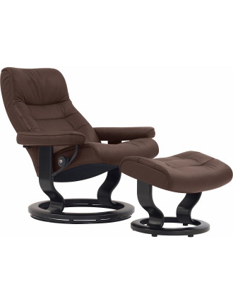 Large Opal Chair with Foot Stool - Paloma Chocolate