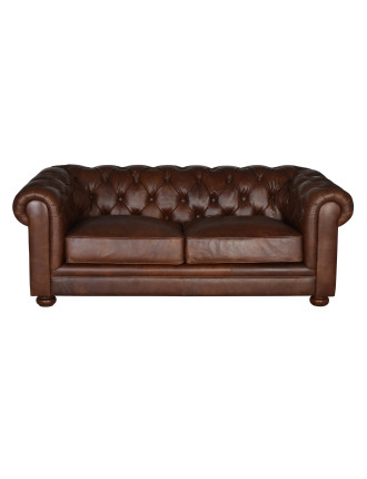 'Charlie' 2.5-Seat Leather Sofa - Antique Whiskey