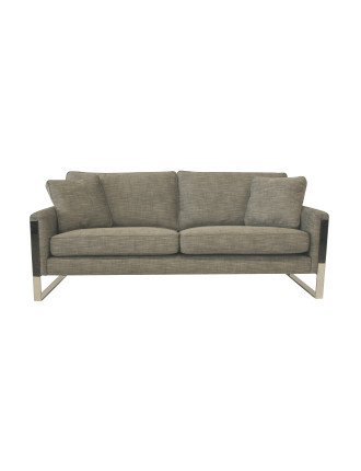 'Peta' 3-Seat Fabric Sofa - Kenya Licorice