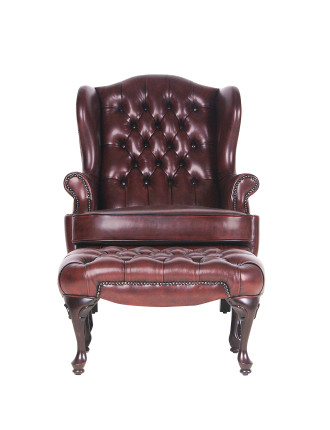 Romsey' Chair in Antica Red Leather