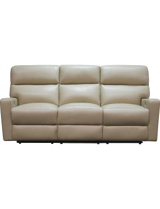 'Olympus' 3 Seater Sofa in Natura Latte Leather With Motion