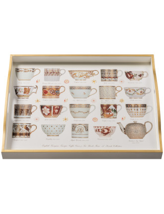 Antique Cups Gold White Large Tray