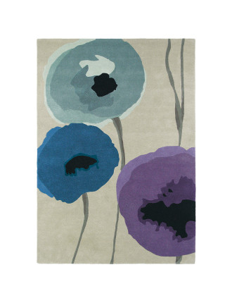 Sanderson Poppies Indigo Purple Rug 240x170cm