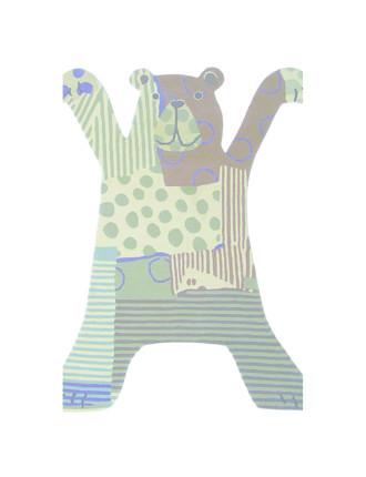 Brink & Campman Xian Kids Bear Grey Rug 115x85cm