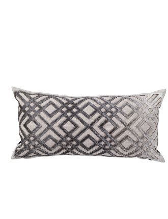 Diamond Laser Cut Hide Rectangle Cushion