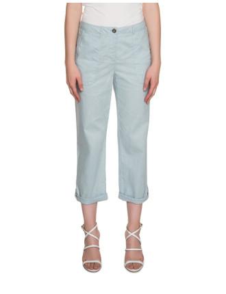 Cropped Linen Blend Pants