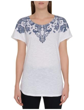 Textured Print Sequin T-Shirt