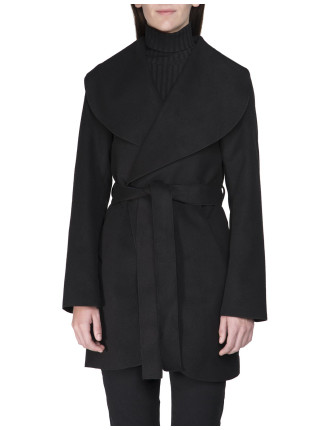 Wrap Front Melton Coat