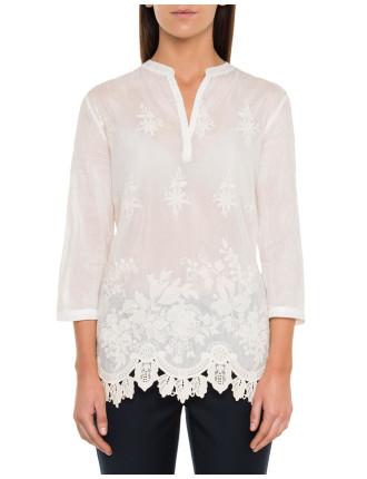 Border Lace Top Cotton Silk Bl