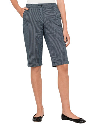 Striped Stretch Cotton Bermuda Shorts