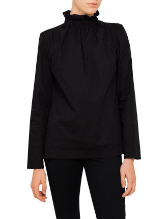 Ruched Turtle Neck Blouse
