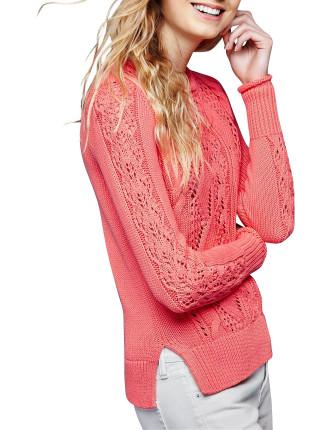 Side Slit Pointelle Pullover Sweater