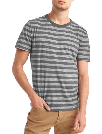 Stripe crew slub t-shirt