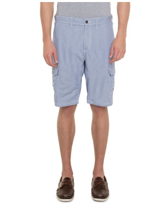 Cotton Striped Cargo Shorts