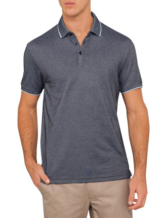 Cotton Blend Textured Golf Shirt