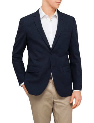 Navy Cotton Textured Blazer
