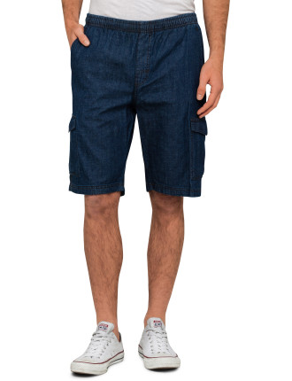Elasticised Denim Shorts