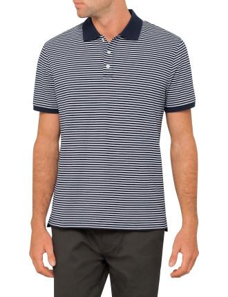 Fin Stripe Pique Polo
