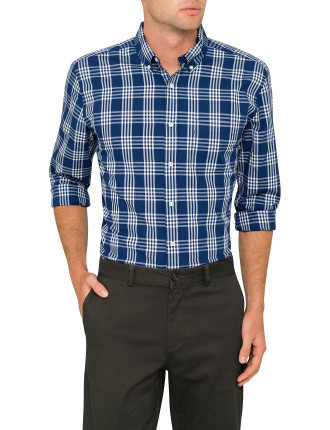 Casual Plaid Navy Shirt