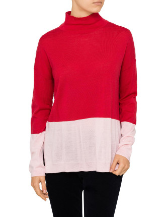 Spliced Boxy Roll Neck Knit