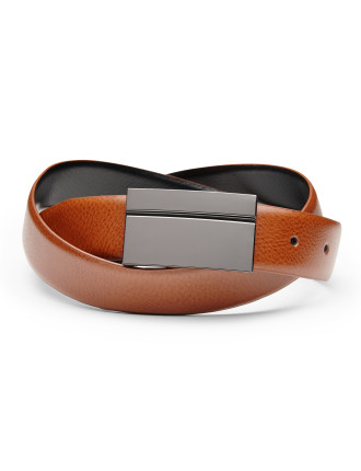 Vicente Reversible Leather Shield Buckle Belt