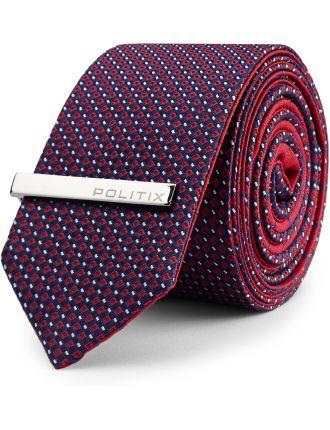 Lukin Pattern Reversible Tie With Tie Bar