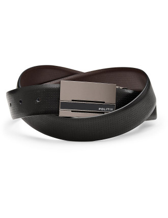 Zayne Reversible Leather Shield Buckle Belt