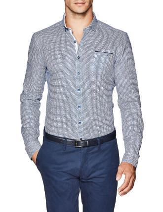 Eddison Slim Fit Geoprint Shirt