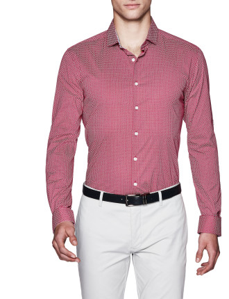 Caspar Slim Fit Geoprint Shirt