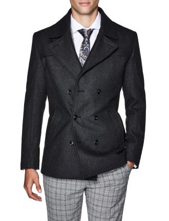 Spike Wool Blend Pea Coat