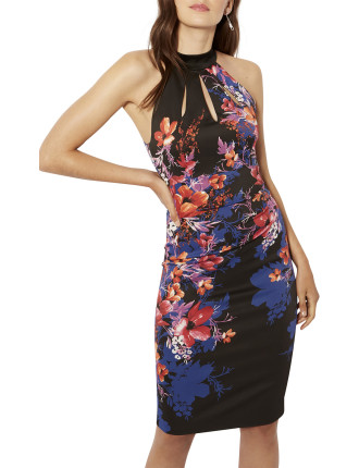 FLORAL HALTERNECK PENCIL DRESS
