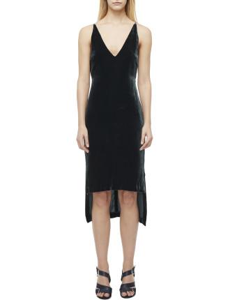 Silk Velvet Fine Line Cami Dress
