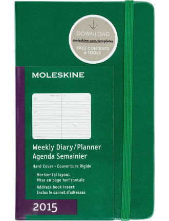 2015 Oxide Green Hard Cover Pocket Weekly Horizontal Diary