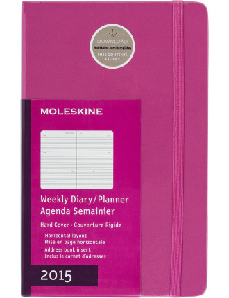 2015 Magenta Hard Cover Large Weekly Horizontal Diary