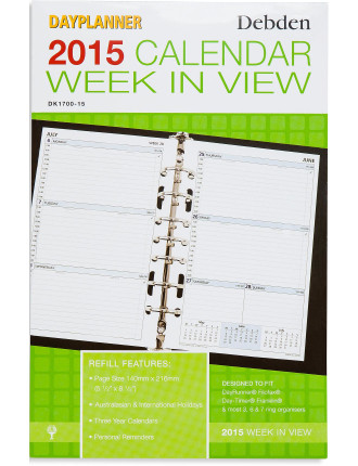 2015 Dated Desk Refill Weekly