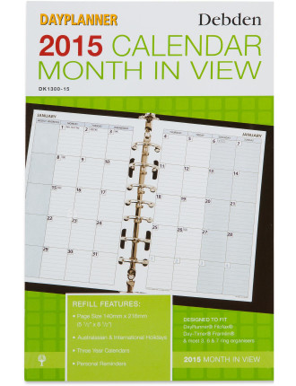 2015 Dated Refill Desk Monthly