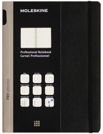 Professional Meeting Ruled Notebook, Extra Large, Black