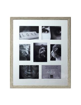 Woodgrain Timber Photo Frame Holds 7 prints