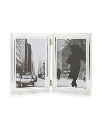 Double Photo Frame with Bead Border