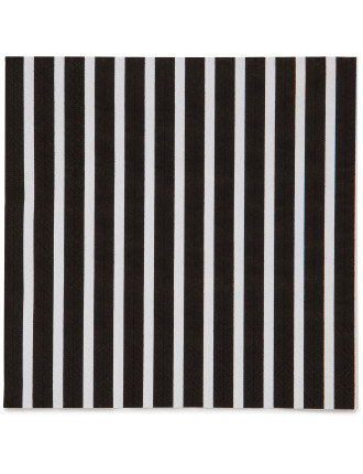 Lunch Napkins - Black/White Stripes