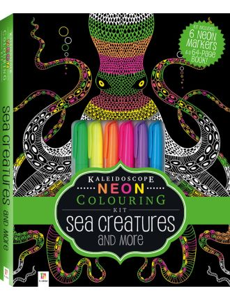 Neon Colouring Kit With 6 Highlighters - Sea Creatures