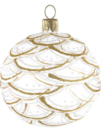Clear Bauble With Gold Glittered Pattern