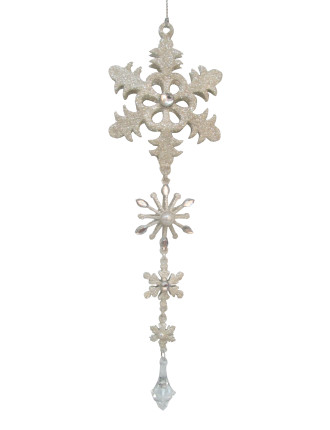 Glitter Snowflake String Silver
