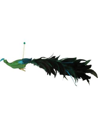 Peacock Feather Clip Green