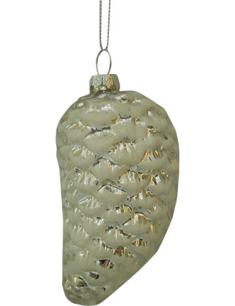 Glass Pinecone Silver