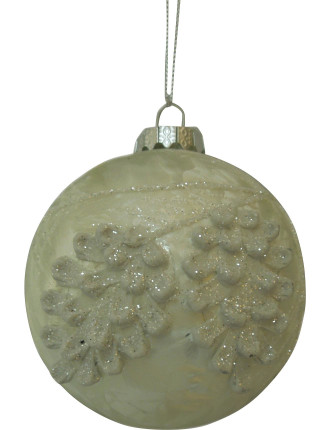 Bauble Pinecone Pattern White
