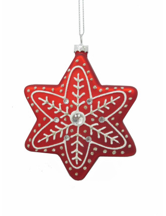 Glass Snowflake Embellished Red