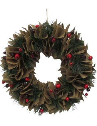 Wreath Burlap Bow Multi