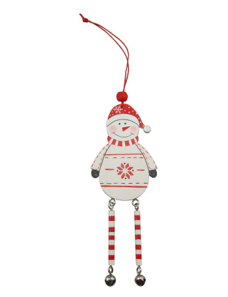 Wood Snowman w/ Bells Multi